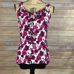 WHBM size XS white with pink floral print top